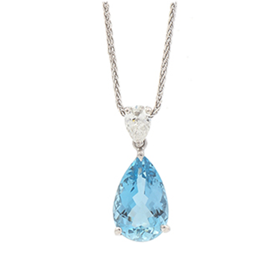 Bespoke aquamarine necklace made in the UK