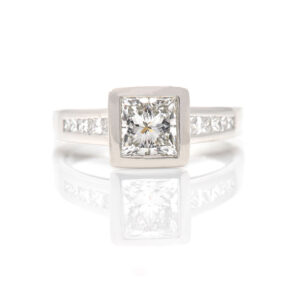 diamond ring with channel set diamonds in band
