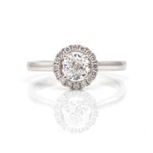 halo set diamond ring