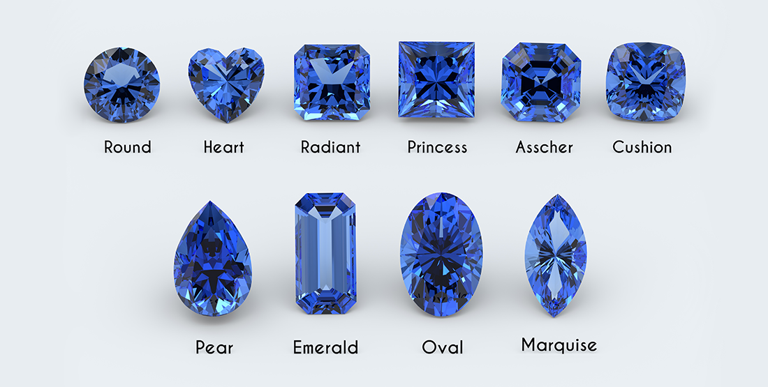 Different cuts of gemstone