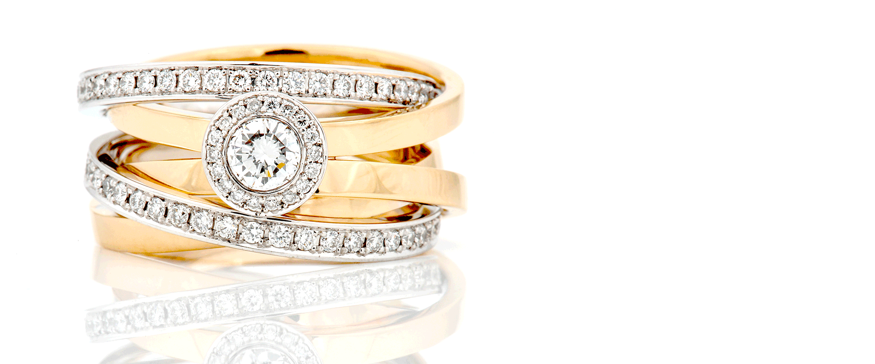 A beautiful bespoke gold and diamond ring made by Christopher Evans Goldsmiths